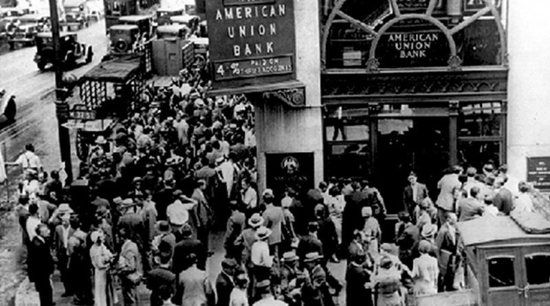 Crowd at New York's American Union Bank during a bank run early in the Great Depression. Photo public domain, Wikipedia Commons.