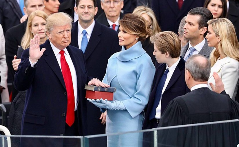 Donald Trump takes the oath of office as the President of the United States. White House photographer, Wikipedia Commons.