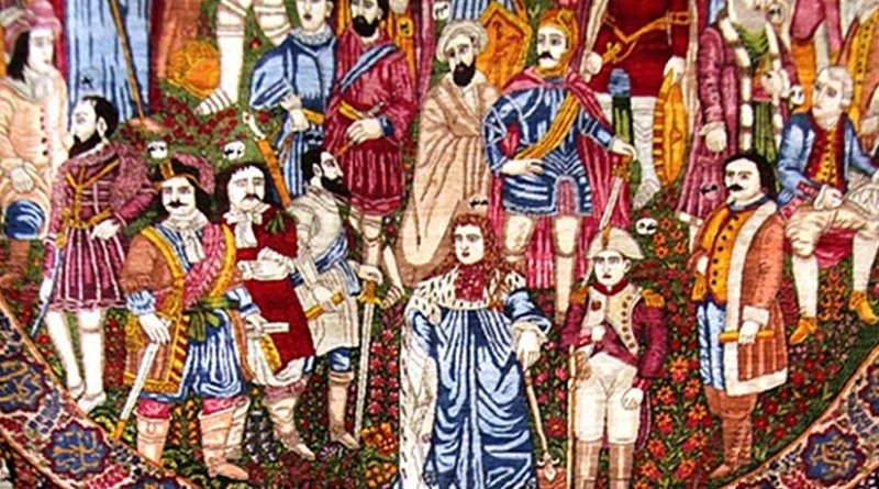 An image from 19th century Qajar carpet from Museum of Carpet in Tehran