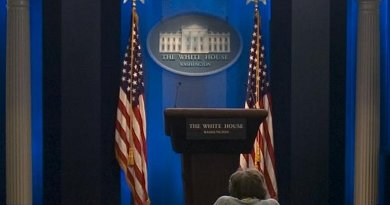 """File photo of the White House """"James Brady Press Briefing Room"""". Photo by Kellerbn, Wikimedia Commons."""