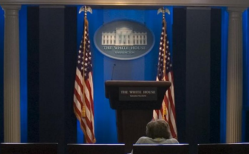 "File photo of the White House ""James Brady Press Briefing Room"". Photo by Kellerbn, Wikimedia Commons."
