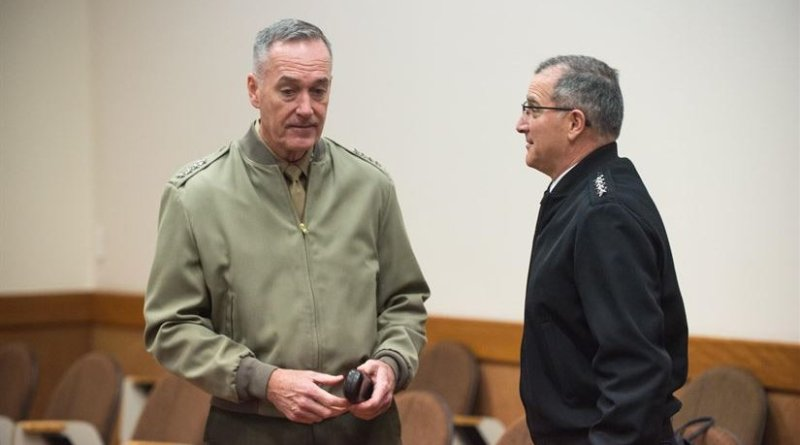 Marine Corps Gen. Joe Dunford, left, chairman of the Joint Chiefs of Staff, speaks with Army Gen. Curtis M. Scaparrotti, NATO's supreme allied commander for Europe at the alliance's headquarters in Brussels, Jan. 17, 2017. NATO's chiefs of defense meet twice a year to discuss NATO operations and missions to provide the North Atlantic Council with consensus-based military advice on how to best meet global security challenges. DoD photo by Army Sgt. James K. McCann