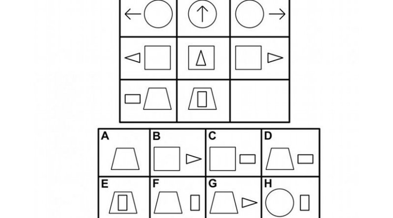 An example question from the Raven's Progressive Matrices standardized test. The test taker should choose answer D because the relationships between it and the other elements in the bottom row are most similar to the relationships between the elements of the top rows. Credit Ken Forbus