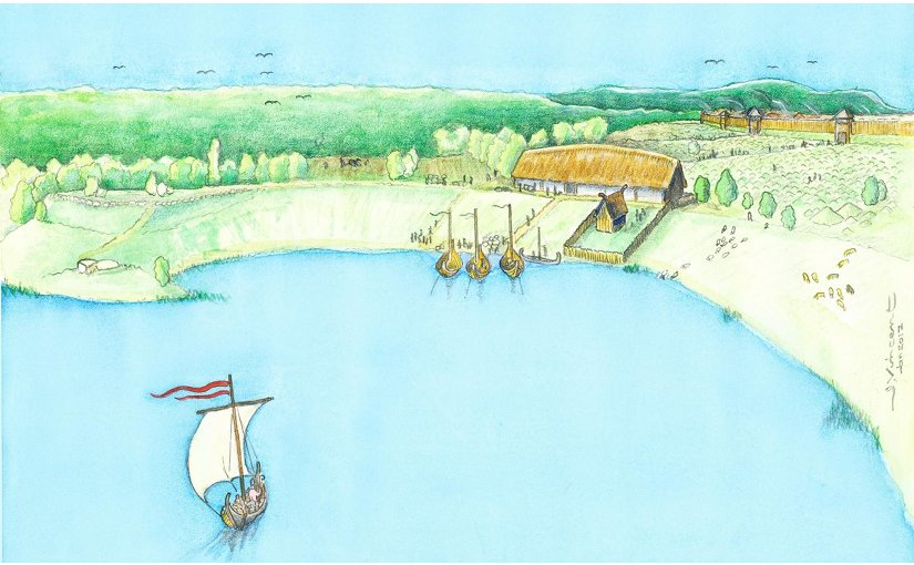 Reconstruction of Viking age manor. Credit Reconstruction by Jacques Vincent