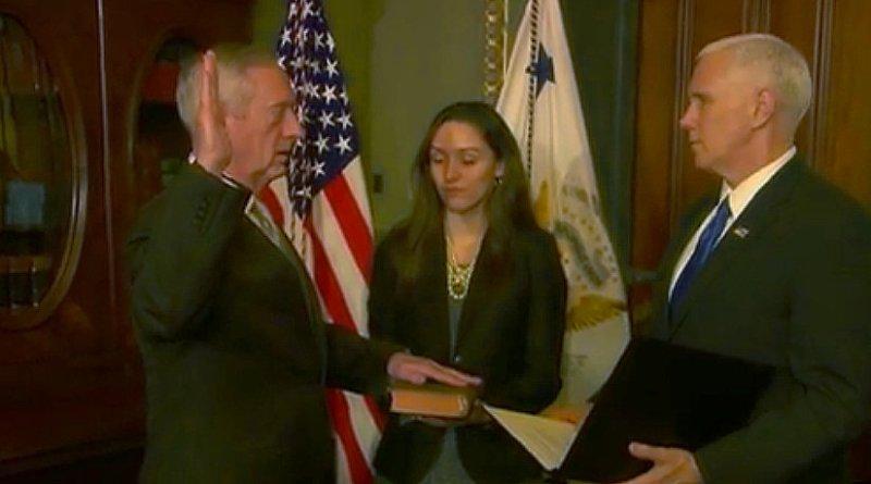 Marine Corps Gen. James Mattis sworn in as US Defense Secretary by Vice President Michael R. Pence. Photo Credit: Screenshot of DoD video.