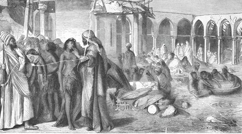 A slave market in Khartoum, c. 1876. Artist unknown - J Ewing Ritchie (1876-79) The life and discoveries of David Livingstone (Pictorial ed.), London: A. Fullarton, Wikipedia Commons.