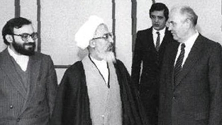 Iran's Ayatollah Khomeini meets Soviet President Mikhail Gorbachev in Moscow, Russia.