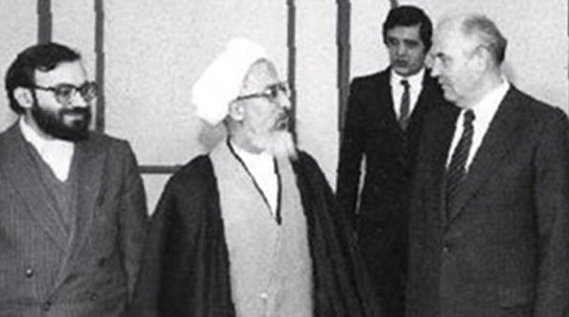 Iran's Ayatollah Khomeini meets Soviet President Mikhail Gorbachev in Moscow, Russia.