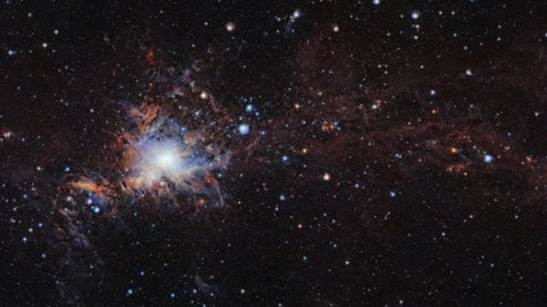 This image from the VISTA infrared survey telescope at ESO's Paranal Observatory in northern Chile is part of the largest infrared high-resolution mosaic of Orion ever created. It covers the Orion A molecular cloud, the nearest known massive star factory, lying about 1350 light-years from Earth, and reveals many young stars and other objects normally buried deep inside the dusty clouds. Credit ESO/VISION survey