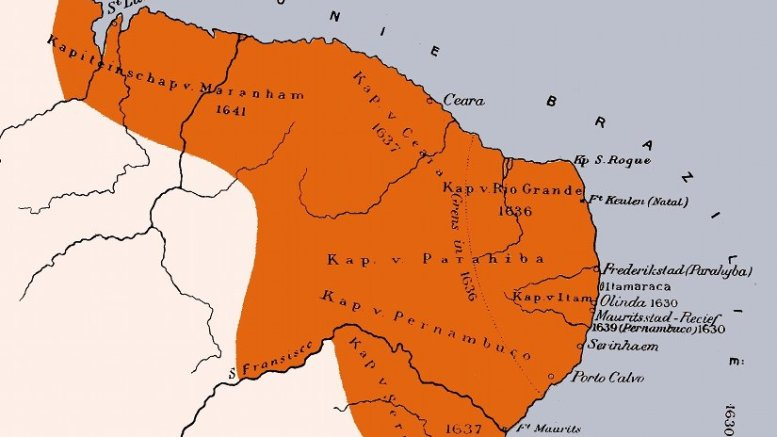 Location of Dutch Brazil. Credit: H. Hettema jr. (ed.), Wikipedia Commons.