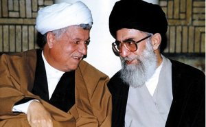 Iran's Akbar Hashemi Rafsanjani with newly elected Supreme Leader, Ali Khamenei, 1989. Photo Credit: Khamenei.ir, Wikipedia Commons.