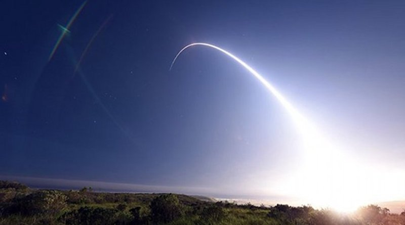 An unarmed Minuteman III intercontinental ballistic missile is launched during a 2016 operational test at Vandenberg Air Force Base, California. Credit: Senior Airman Kyla Gifford/U.S. Air Force.