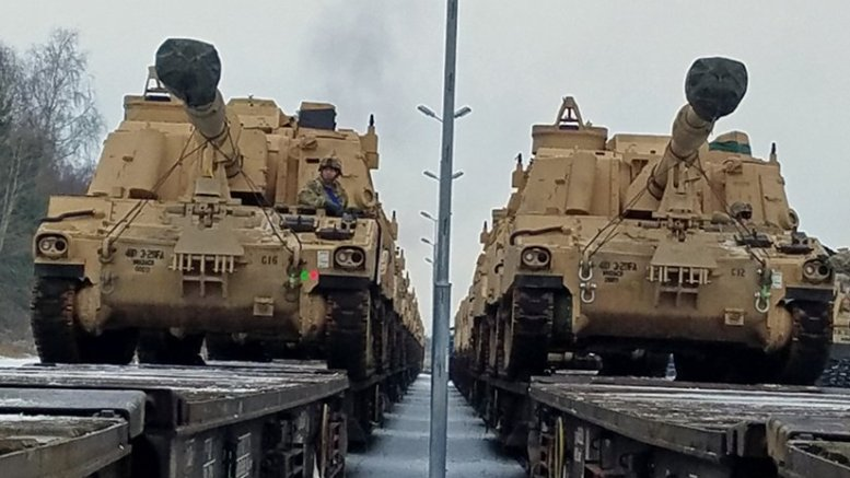DRAWSKO POMORSKIE, Poland - M106 Paladin self-propelled howitzers belonging to 3rd Battalion, 29th Field Artillery Regiment, 3rd Armored Brigade, 4th Infantry Division have been offloaded from a flatcar railway Jan. 9, 2017. The vehicles were shipped from the Port of Bremerhaven, Germany on Jan. 6. They will be used by the Soldiers as they conduct training in Eastern Europe as part of Operation Atlantic Resolve. Rotating U.S.-based units through the European theater on a heel-to-toe rotation exercises our ability to assemble forces quickly, familiarizes Soldiers with their multinational counterparts while in a complex security environment and demonstrates deterrence. (Photo Credit: Staff Sgt. Corinna Baltos)