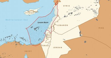 Boundaries of the Levant Basin, or Levantine Basin. Credit: EIA, Wikipedia Commons.