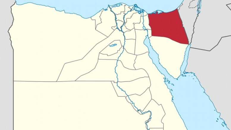 North Sinai Governorate on the map of Egypt. Source: Wikipedia Commons.