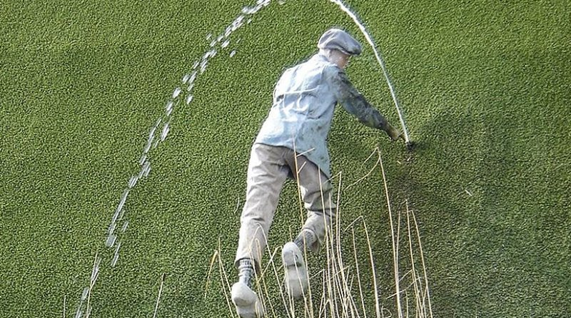 Tourism statue in Madurodam, Netherlands, of the nameless boy plugging a dike. Source: Wikipedia Commons.