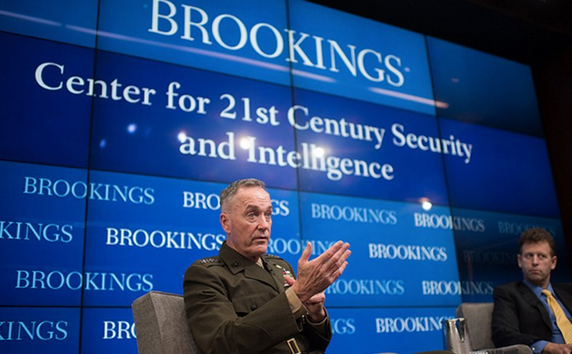 Gen. Joseph F. Dunford, Jr., chairman of the Joint Chiefs of Staff, speaks at the Brookings Institute Feb. 23, 2017 in Washington, DC. The Brookings Institution is a nonprofit public policy organization with the mission to conduct in-depth research that leads to new ideas for solving problems facing society at the local, national and global level.DoD photo by D. Myles Cullen