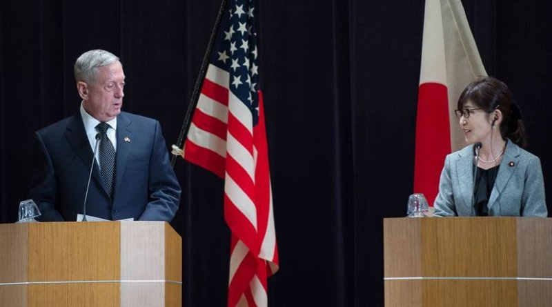 US Defense Secretary Jim Mattis speaks during a joint press conference with Japanese Defense Minister Tomomi Inada following their meeting at the Defense Ministry in Tokyo, Feb. 4, 2017. DoD photo by Army Sgt. Amber I. Smith