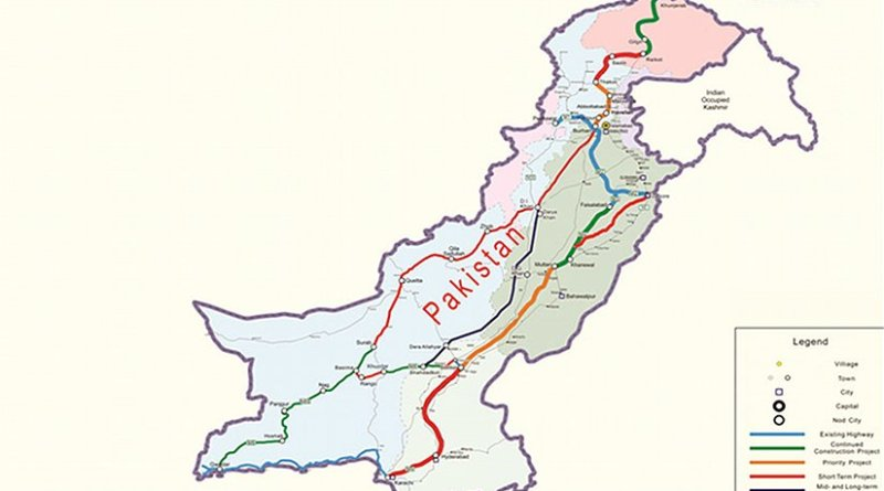 Map of the China-Pakistan CPEC roadway network. Credit: Government of Pakistan, Wikipedia Commons.