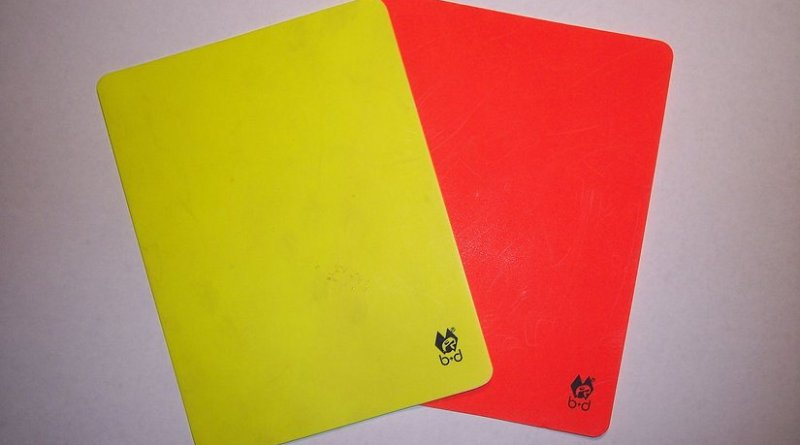 Yellow and red card (Soccer). Credit: Benutzer:Christian Spitschka, Wikimedia Commons.