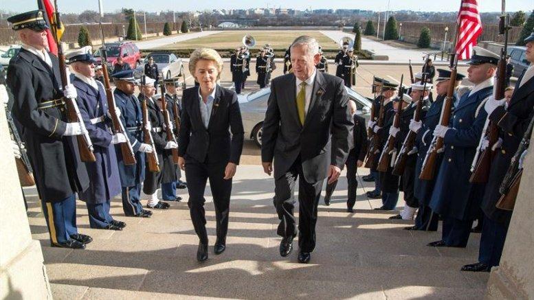 Defense Secretary Jim Mattis welcomes German Defense Minister Ursula von der Leyen with an enhanced honor cordon as she arrives at the Pentagon, Feb. 10, 2017. DoD photo by Air Force Staff Sgt. Jette Carr