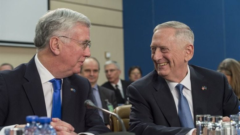 Defense Secretary Jim Mattis, right, talks with British Defense Secretary Michael Fallon during a North Atlantic Council meeting at NATO headquarters in Brussels, Feb. 15, 2017. DoD photo by Air Force Tech. Sgt. Brigitte N. Brantley