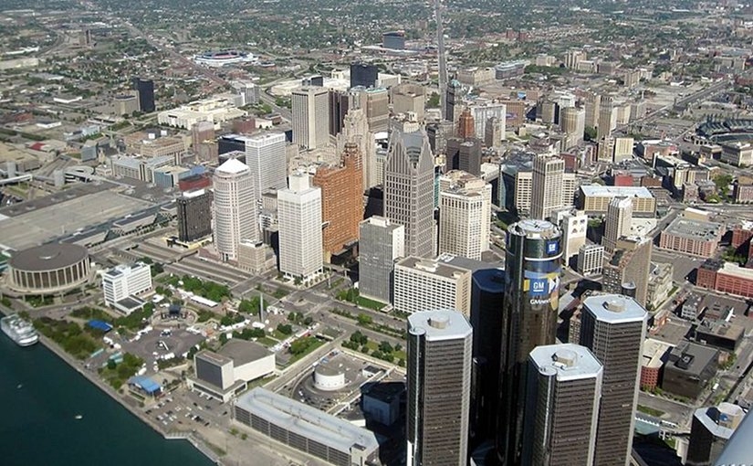Aerial view of Downtown Detroit, Michigan. Photo by Robert Thompson, Wikipedia Commons.