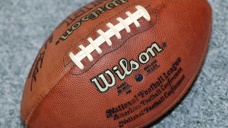 An American Football ball. Photo by Torsten Bolten, Wikipedia Commons.