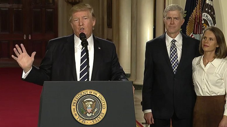 US President Donald Trump nominates Neil Gorsuch for Supreme Court. Photo Credit: Screenshot from White House video.