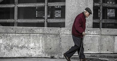 Elderly person walking
