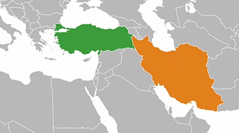 :ocations of Turkey (green) and Iran (orange). Source: Wikipedia Commons.