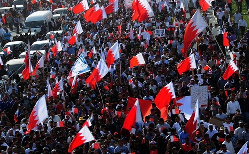 "Over 100,000 people in Bahrain taking part in the ""March of Loyalty to Martyrs"", honoring political dissidents killed by security forces. Photo by Lewa'a Alnasr, Wikipedia Commons."