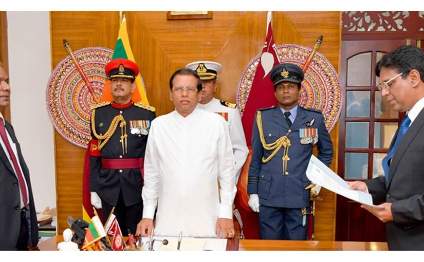 Sri Lanka's Justice Priyasad Depp sworn in as the new Chief Justice before President Maithripala Sirisena. Photo Credit: Sri Lanka President's Office.