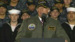 US President Donald Trump visits the future USS Gerald R. Ford in Newport News, Virginia. Credit: DoD video screenshot.