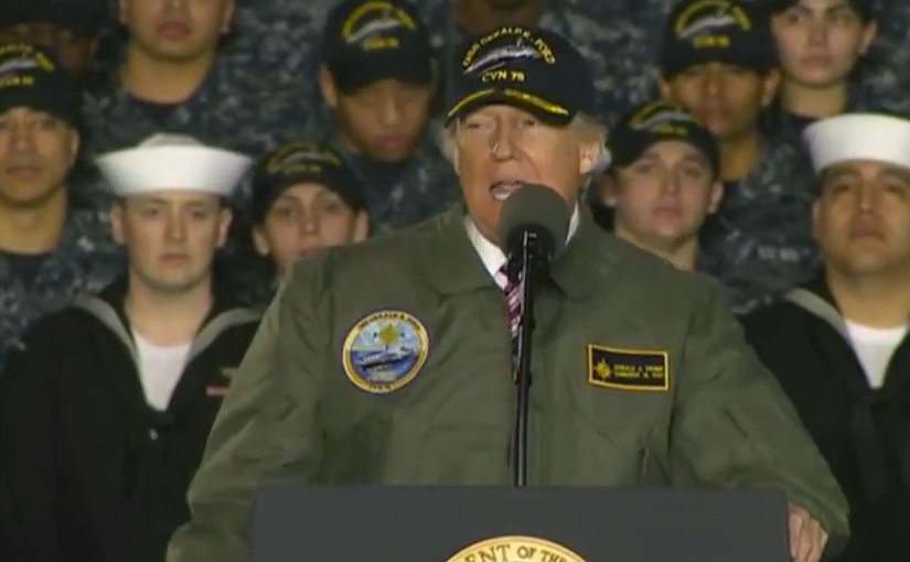 US President Donald Trump visits the future USS Gerald R. Ford in Newport News, Virginia. Credit: DoD video screenshot.