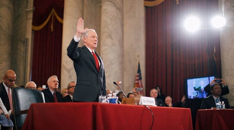 Jeff Sessions being sworn in at his confirmation hearing on January 10, 2017. Photo Credit: Office of the President-elect, Wikipedia Commons.