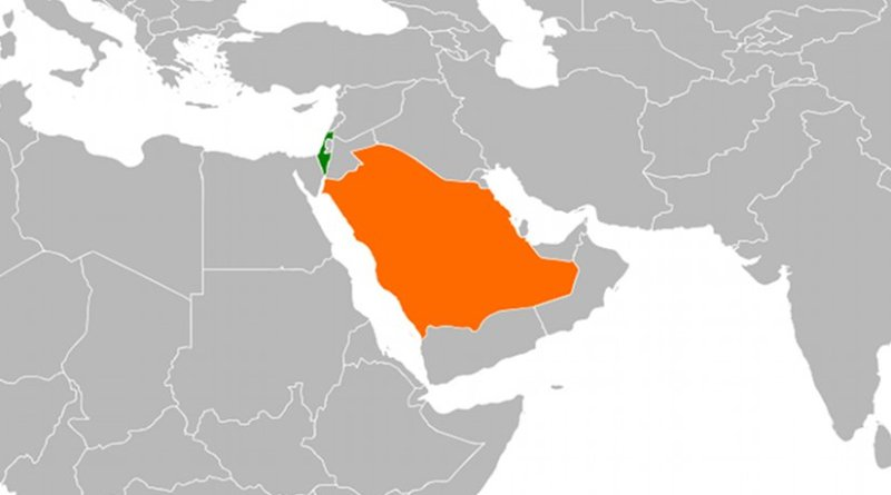 Locations of Israel and Saudi Arabia. Source: Wikipedia Commons.
