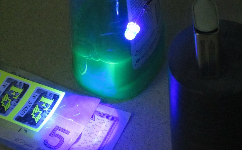 A 380 nanometre UV LED makes some common household items fluoresce. Photo by Wtshymanski, Wikipedia Commons.