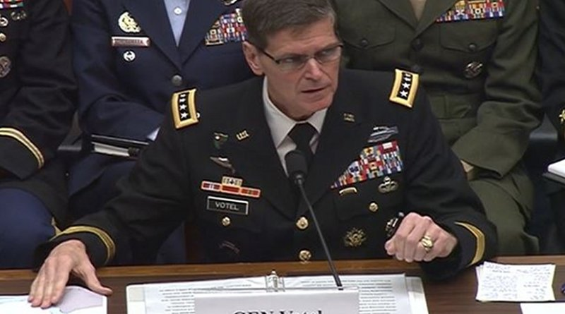 Army Gen. Joseph L. Votel, commander of U.S. Central Command, testified on security challenges in the greater Middle East before the House Armed Services Committee in Washington, March 29, 2017.
