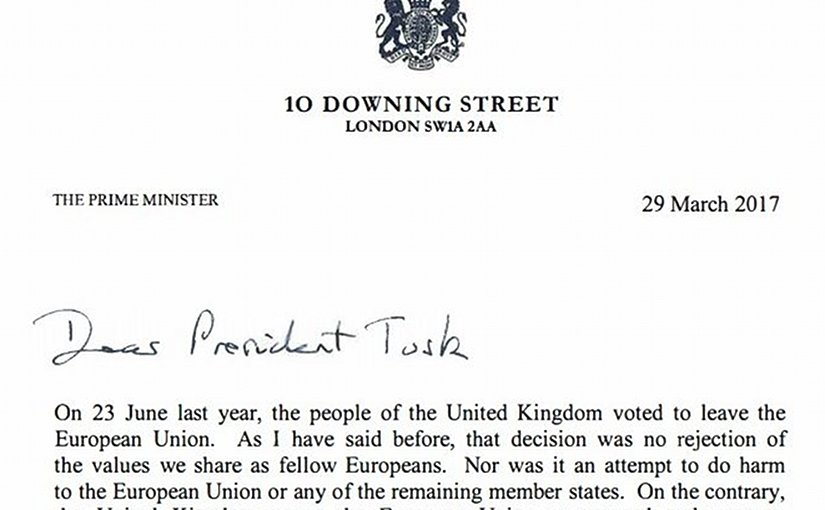 Brexit letter from UK's Prime Minister Theresa May to EU's Donald Tusk.