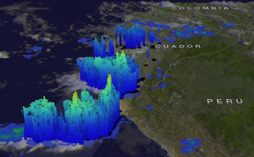 When the GPM core observatory satellite flew above Peru on March 20, 2017 at 0826 UTC (4:26 a.m. EST) GPM identified locations of storms that were dropping heavy rainfall over northwestern Peru. Credit Credits: NASA/JAXA, Hal Pierce