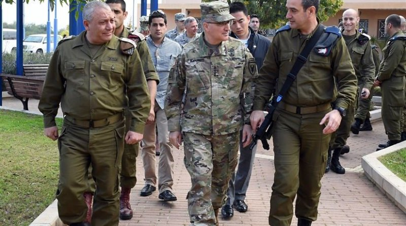Army Gen. Curtis M. Scaparrotti, commander of U.S. European Command, center, tours the Arrow Missile Defense System headquarters in Palmahim, Israel, accompanied by Israeli Defense Force Chief of Staff Lt. Gen. Gadi Eizenkot, left, and Air Defense Commander Brig. Gen. Zvika Haimovich, March 7, 2017. State Department photo by Matty Stern
