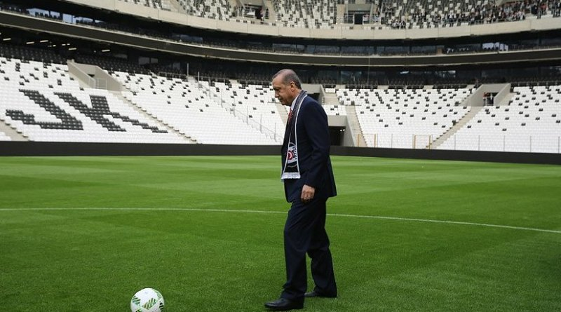Turkey's President Recep Tayyip Erdoğan inaugurates opening of Vodafone Arena, the home stadium of Beşiktaş. Photo Credit: Turkey's President Office.