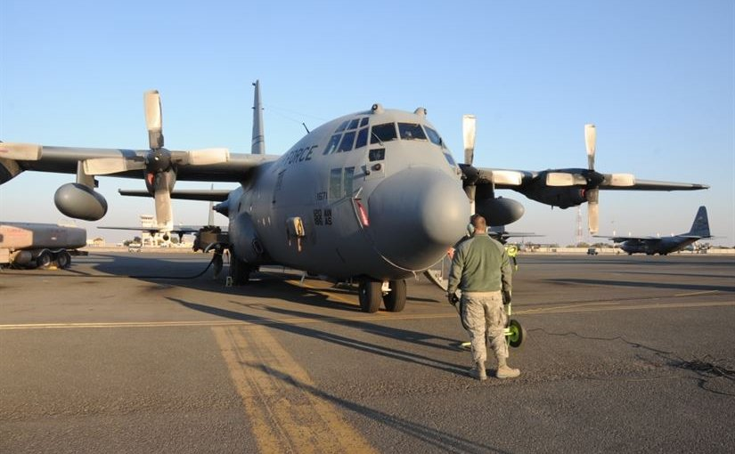 Air Force Staff Sgt. Michael Beaver, a 737th Expeditionary Air Squadron crew chief, watches over a C-130 Hercules as it is refueled at an undisclosed location in Southwest Asia, Feb. 8, 2017. The mission of the 737th is to deliver personnel and cargo downrange in support of Operation Inherent Resolve and its campaign to defeat the Islamic State of Iraq and Syria. Air Force photo by Tech. Sgt. Kenneth McCann
