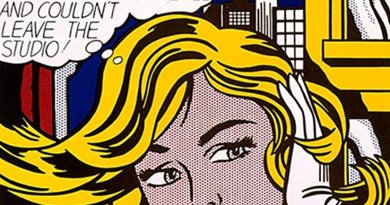 """Section of """"M-Maybe,"""" a 1965 pop art painting by Roy Lichtenstein. Source: Wikipedia Commons."""