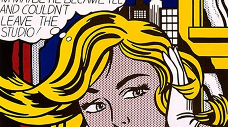 "Section of ""M-Maybe,"" a 1965 pop art painting by Roy Lichtenstein. Source: Wikipedia Commons."