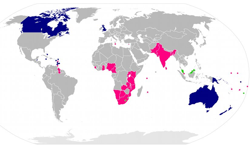 Members of the Commonwealth shaded according to their political status. Commonwealth realms are shown in blue, republics in pink, and members with their own monarchy are displayed in green. Source: Wikipedia Commons.
