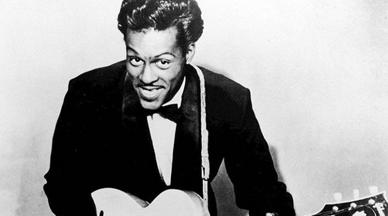 Chuck Berry in 1957. Photo by Universal Attractions, Wikipedia Commons.