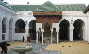 Courtyard, Al-Qarawiyyin University, Fes. Morocco, the oldest in the world. Photo by Khonsali, Wikipedia Commons.