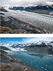 This image shows the retreat of the Columbia Glacier, Alaska, USA, by ~6.5 km between 2009 and 2015. Credit Photo credit: James Balog and the Extreme Ice Survey. Usage Restrictions Credit GSA Today, The Geological Society of America, and James Balog and the Extreme Ice Survey.
